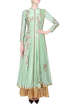 Green Floral Embroidered Kalidaar Kurta and Gold Brocade Skirt Set by Joy Mitra