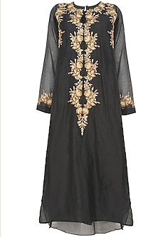 Black Floral Embroiderd Kurta and Gold Brocade Skirt with Golden Scarf by Joy Mitra