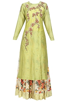 Green Floral Embroidered Kurta and Off White Skirt with Golden Scarf by Joy Mitra