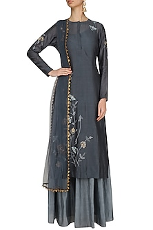 Grey Floral Embroidered Straight Kurta and Skirt Set by Joy Mitra
