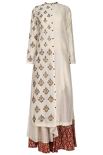 Cream Floral Embroidered Asymmetric Kurta and Skirt Set by Joy Mitra