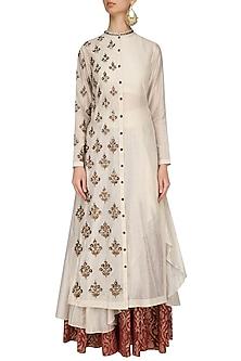 Cream Floral Embroidered Asymmetric Kurta and Skirt Set by Joy Mitra