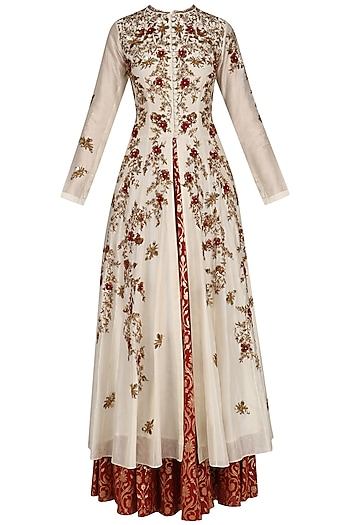 Cream Floral Embroidered High Slit Kurta and Skirt Set by Joy Mitra