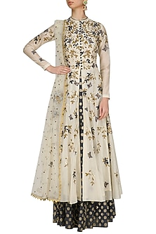 Cream Floral Embroidered Anarkali Kurta and Blue Skirt Set by Joy Mitra
