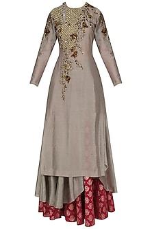 Grey Jaal Embroidered Asymmetric Kurta and Skirt Set by Joy Mitra