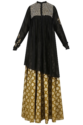 Black Floral Embroidered Anarkali Kurta and Skirt Set by Joy Mitra