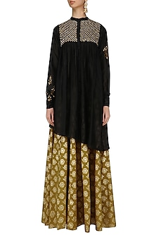 Black Floral Embroidered Anarkali Kurta and Skirt Set by Joy Mitra