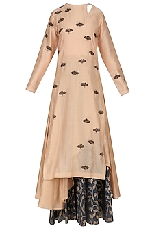 Peach Insect Motifs Straight Kurta and Skirt Set by Joy Mitra