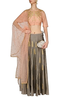 Peach Gota Patti Embroidered Blouse and Grey Skirt Set by Joy Mitra