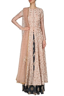 Peach Floral Anarkali High Slit Kurta and Skirt Set by Joy Mitra