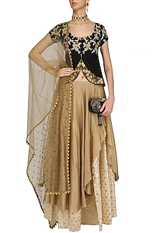Black Floral Embroidered Flap Top and Gold Skirt Set by Joy Mitra