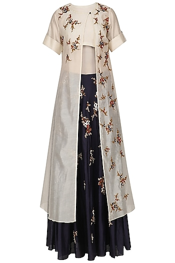Cream Floral Embroidered Kurta and Blue Skirt Set by Joy Mitra