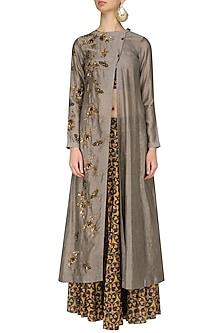 Grey Insect Motifs High Slit Kurta and Skirt Set by Joy Mitra