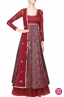 Maroon Azrak Floral Embroidered Anarkali Set by Joy Mitra