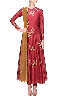 Maroon Floral Sequins Embroidered Flared Anarkali Set by Joy Mitra