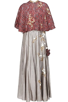 Grey Floral Embroidered Skirt and Red Azrak Cape Set by Joy Mitra