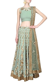 Green Floral Sequins and Beads Embroidered Lehenga Set by Joy Mitra