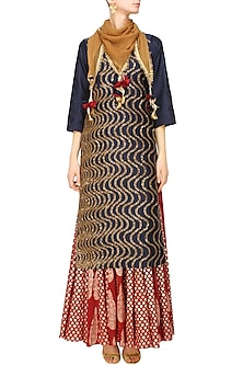 Indigo Sequins Embroidered Kurta and Red Brocade Skirt with Golden Stole by Joy Mitra