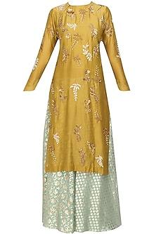 Yellow Floral Embroidered Kurta and Mint Brocade Sharara Set by Joy Mitra