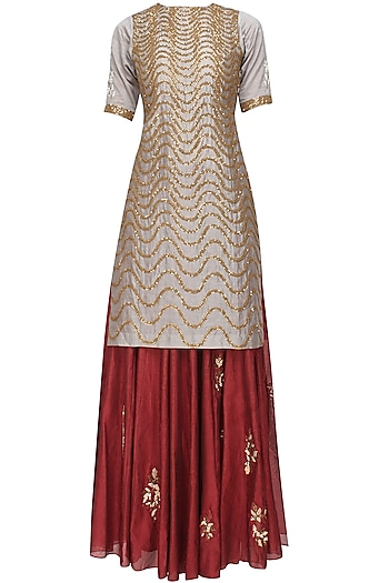 Grey Snake Pattern Sequins Embroidered Kurta and Maroon Skirt Set by Joy Mitra