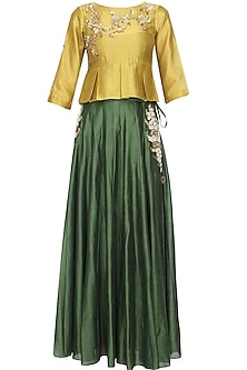 Mustard Floral Embroidered Peplum Top and Green Skirt Set by Joy Mitra