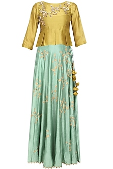 Mustard Floral Embroidered Peplum Top and Mint Green Skirt Set by Joy Mitra