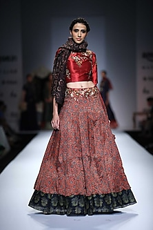 Maroon Floral Embroidered Blouse with Printed Angrakha Lehengha by Joy Mitra