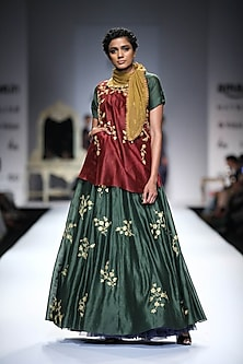 Maroon and Gold Metel Sequins Top with Green Floral Sequins Anarkali by Joy Mitra