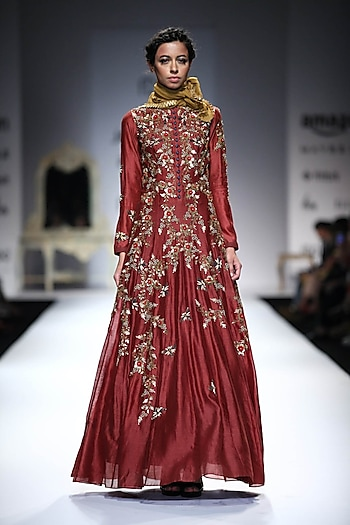Maroon Bug and Flower Embroidered Anarkali by Joy Mitra