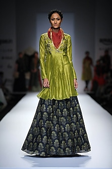 Lime Green Embroidered Pleated Short Kurta with Blue Printed Skirt by Joy Mitra