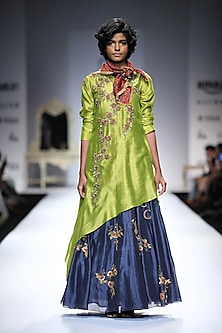 Lime Green Embroidered Asymmetrical Kurta with Indigo Embellished Skirt by Joy Mitra
