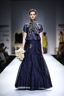 Indigo Embroidered Peplum Top with Indigo Pleated Embellished Skirt by Joy Mitra