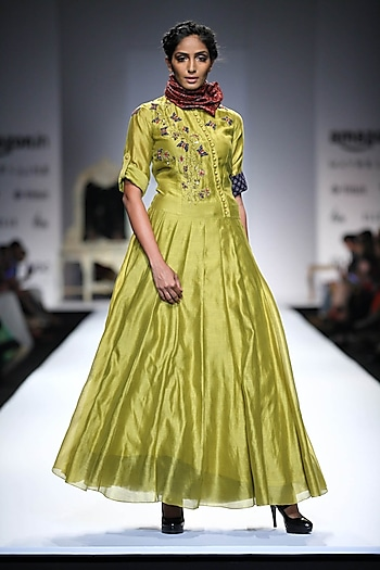 Lime Green Butterfly Embroidered Anarkali by Joy Mitra
