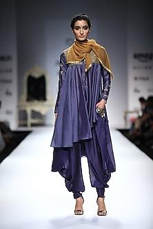 Indigo Rikrak Embroidered Short Anarkali with Indigo Drape Pocket Pants by Joy Mitra