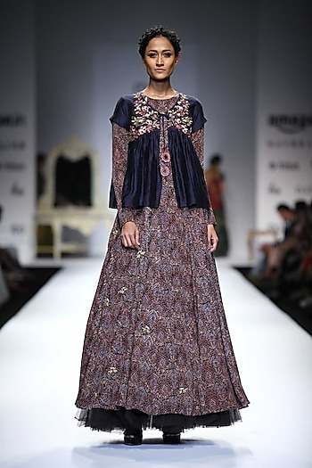 Indigo Embroidered Jacket Top with Printed Bug Embellished Anarkali by Joy Mitra