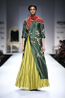 Green Embroidered Side Cut Kurta with Lime Green Skirt by Joy Mitra