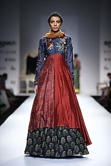 Blue and Maroon Angrakha Asymmetrical Anarkali with Printed Skirt by Joy Mitra
