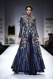 Indigo Floral and Bug Embroidered Anarkali by Joy Mitra