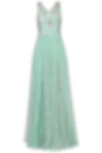 Marine Blue Embroidered Gown by Japnit Ahluwalia