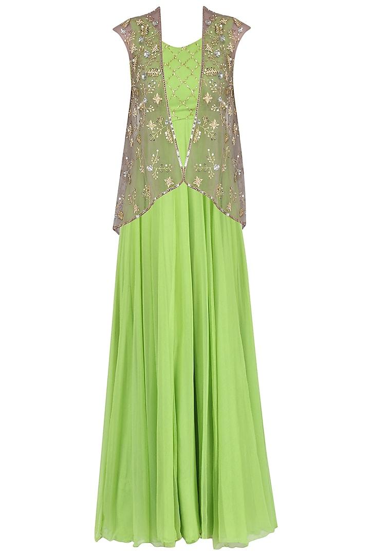 Olive Green Anarkali Gown with Grey Jacket by Japnit Ahluwalia