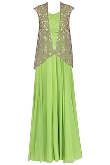 Olive Green Anarkali Gown with Grey Jacket by Japnit Ahluwalia