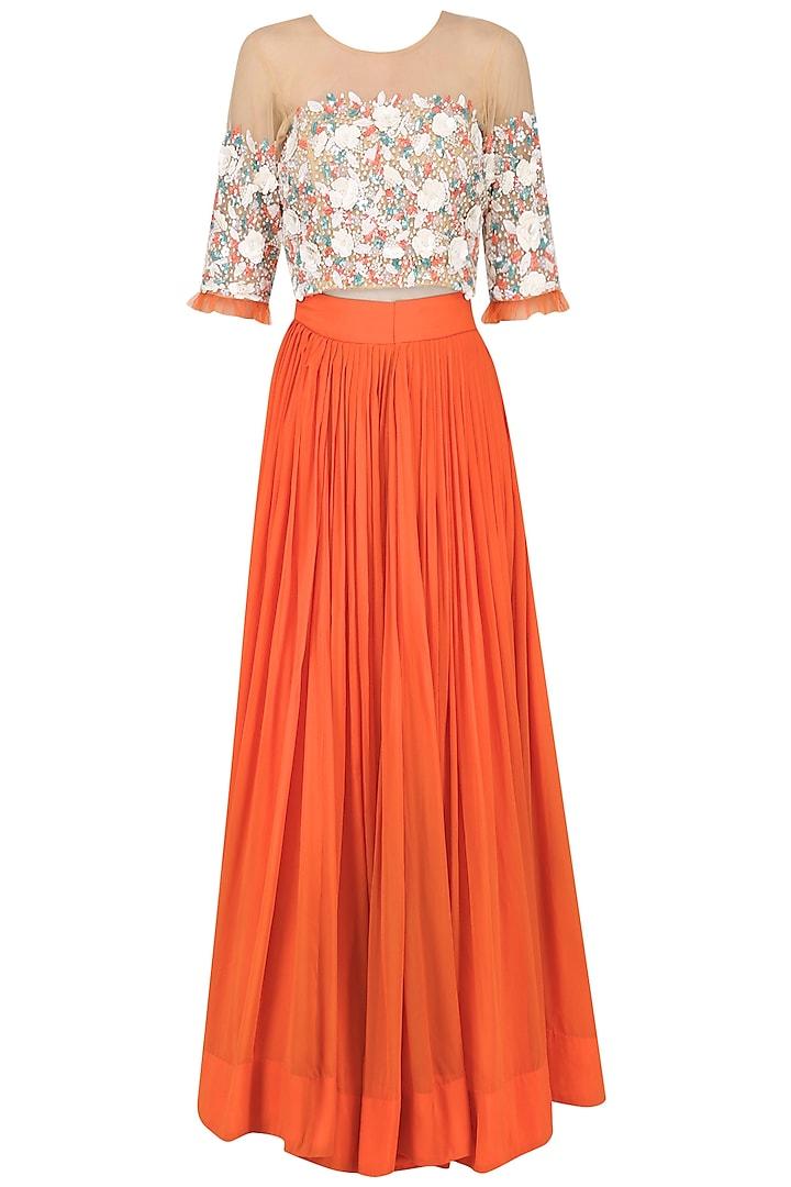 Tangerine Orange Embroidered Lehenga Set by Japnit Ahluwalia