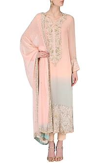 Pink and Blue Double Shaded Kurta Set by Japnit Ahluwalia