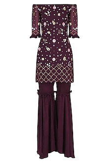 Wine Embroidered Off-Shoulder Sharara Set by Japnit Ahluwalia