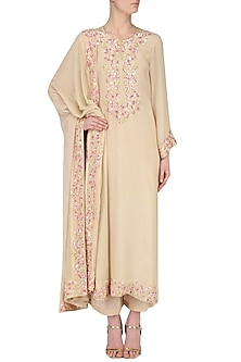 Beige Embroidered Kurta Set by Japnit Ahluwalia