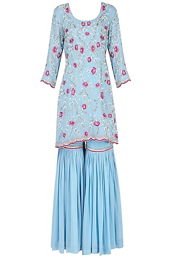 Blue Embroidered Sharara Set by Japnit Ahluwalia