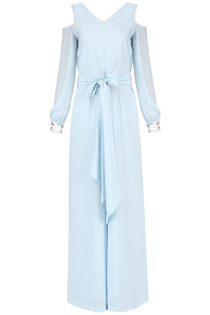 Powder Blue Jumpsuit by Japnit Ahluwalia