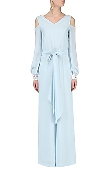 Powder Blue Jumpsuit by Japnit Ahluwalia