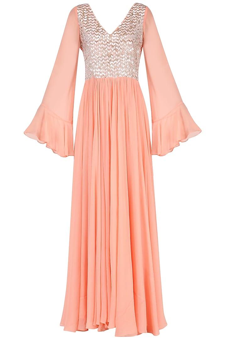 Peach Embroidered Maxi Dress by Japnit Ahluwalia