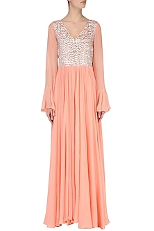 Peach Embroidered Maxi Dress by Japnit Ahluwalia